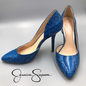 Jessica Simpson Blue Snake Skin heels 8